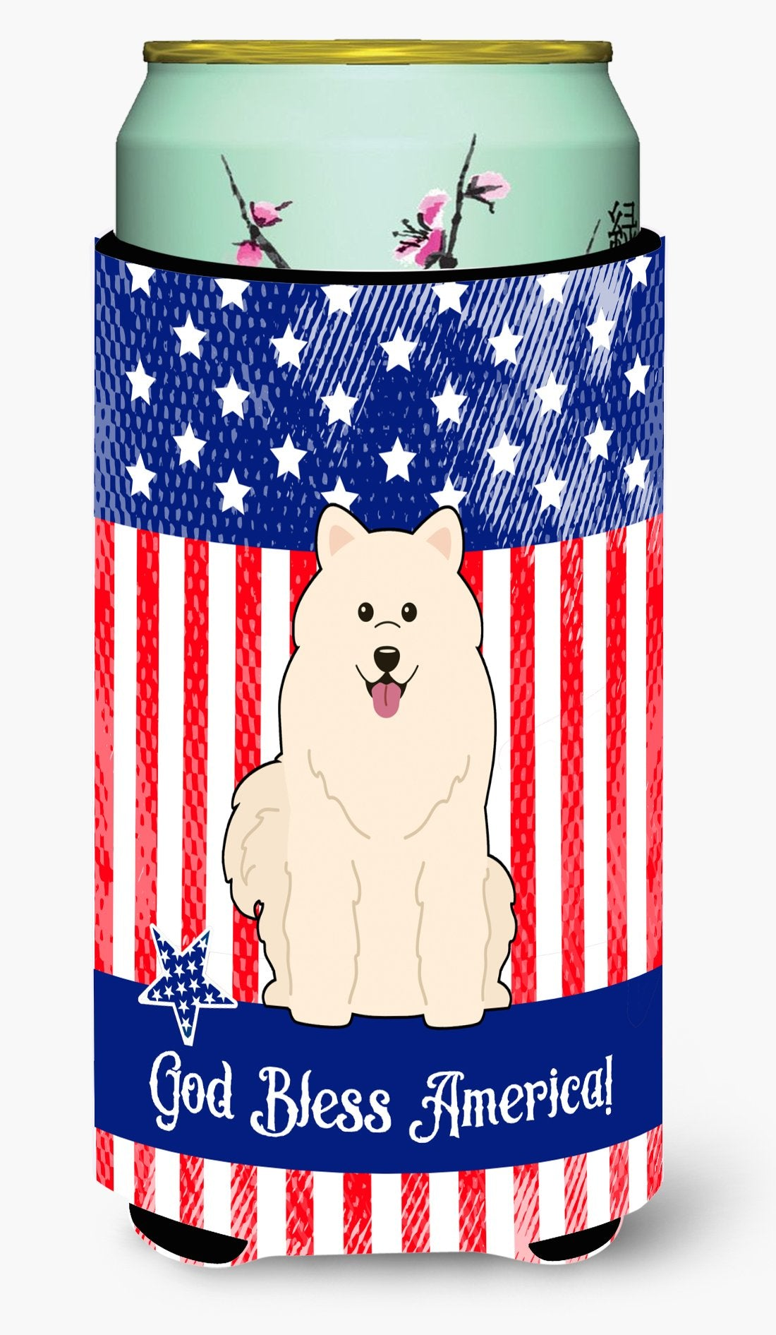 Buy this Patriotic USA Samoyed Tall Boy Beverage Insulator Hugger BB3025TBC