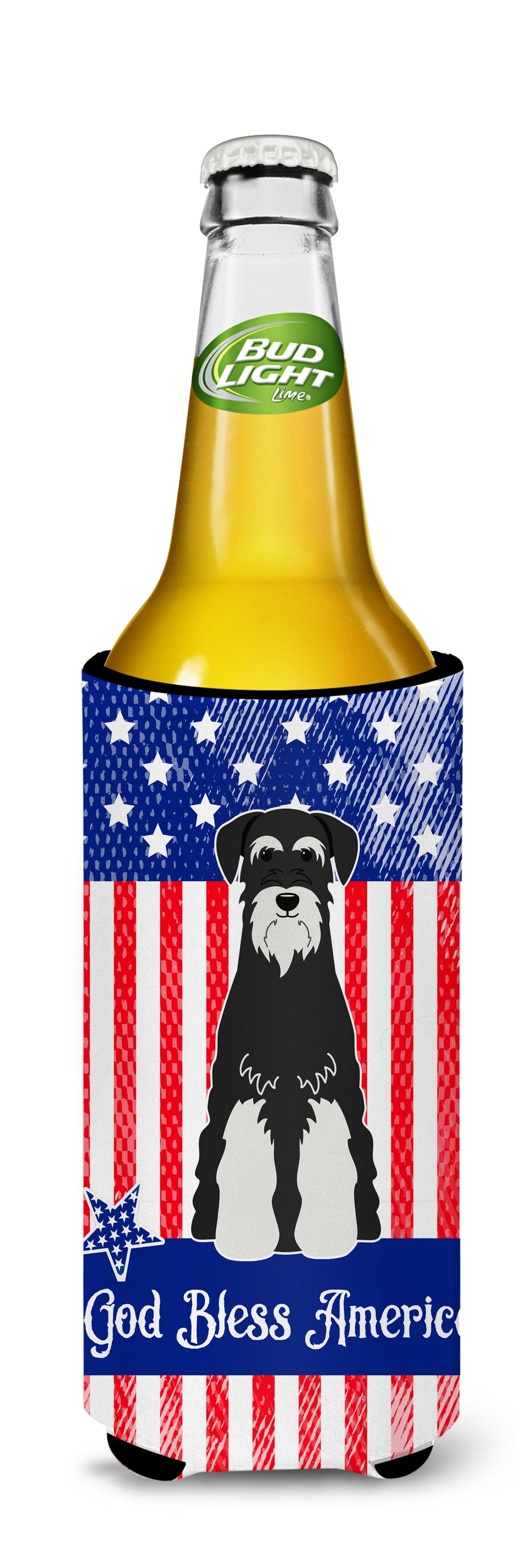 Patriotic USA Standard Schnauzer Salt and Pepper Michelob Ultra Hugger for slim cans BB3028MUK by Caroline's Treasures