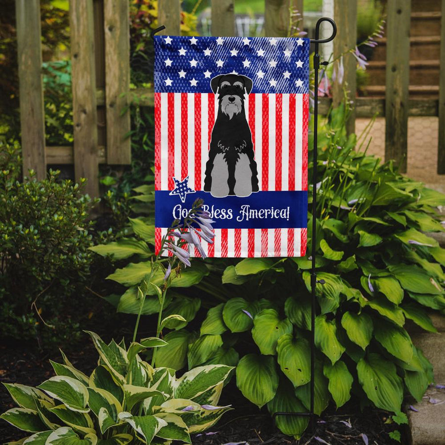Buy this Patriotic USA Standard Schnauzer Black Grey Flag Garden Size