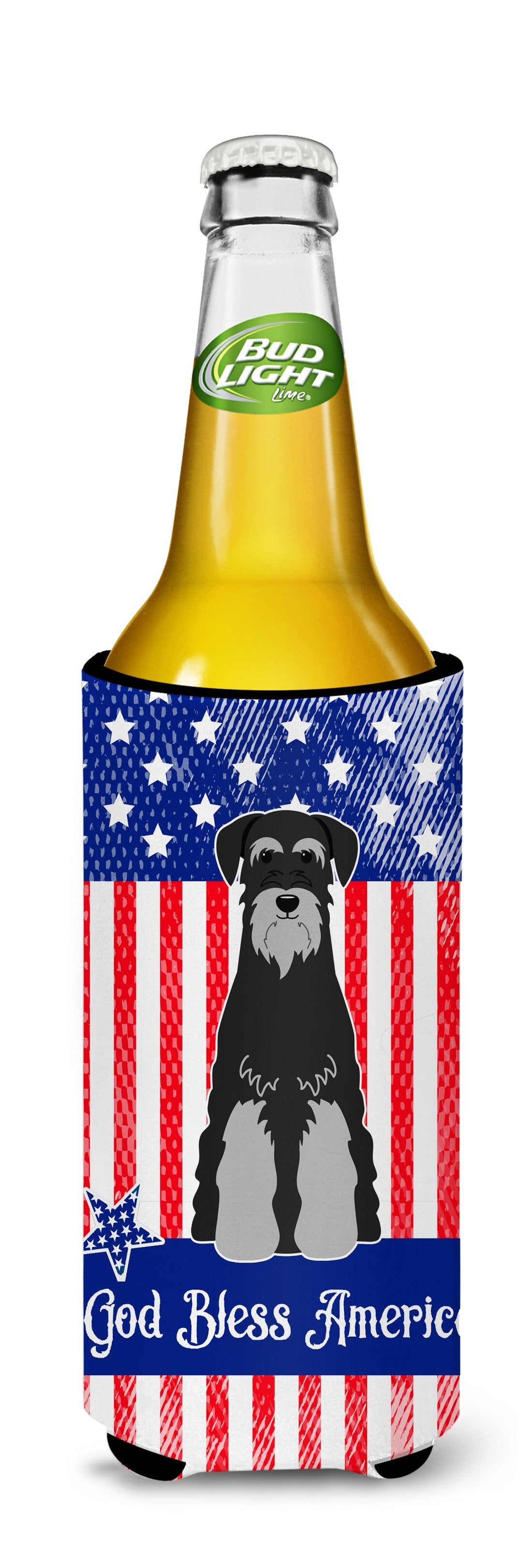 Patriotic USA Standard Schnauzer Black Grey Michelob Ultra Hugger for slim cans BB3029MUK by Caroline's Treasures