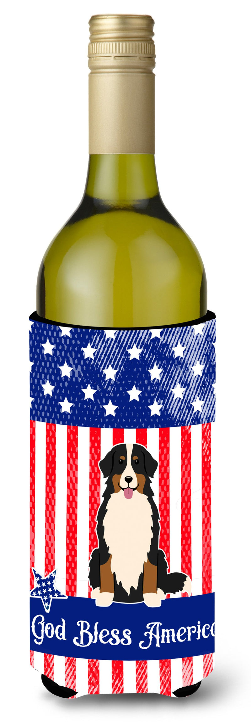 Buy this Patriotic USA Bernese Mountain Dog Wine Bottle Beverge Insulator Hugger