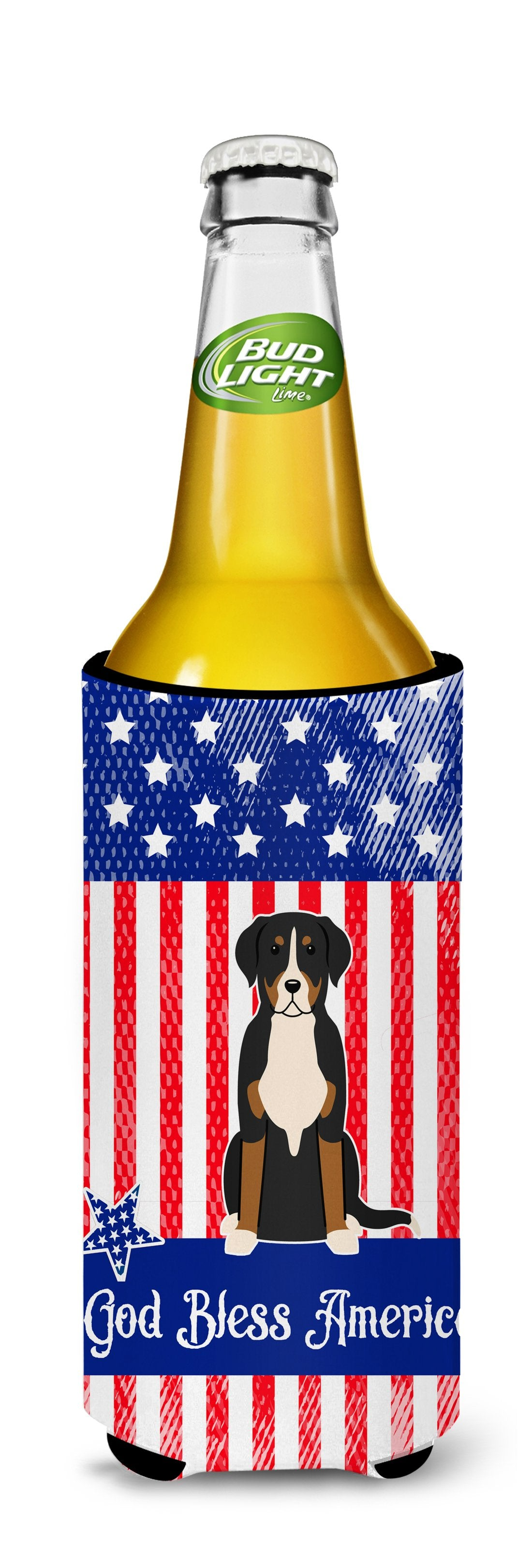Patriotic USA Greater Swiss Mountain Dog Michelob Ultra Hugger for slim cans by Caroline's Treasures