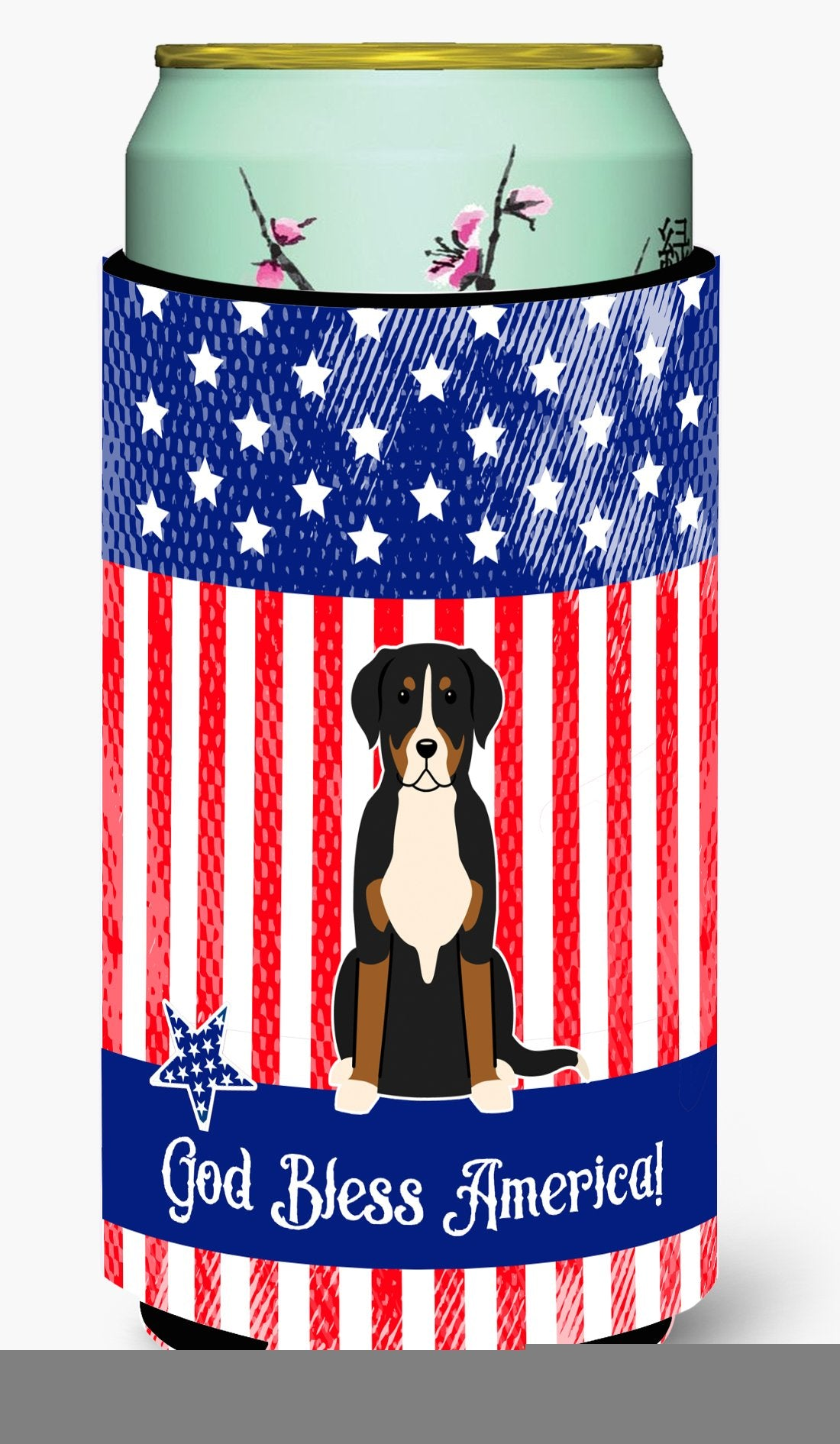 Patriotic USA Greater Swiss Mountain Dog Tall Boy Beverage Insulator Hugger by Caroline's Treasures