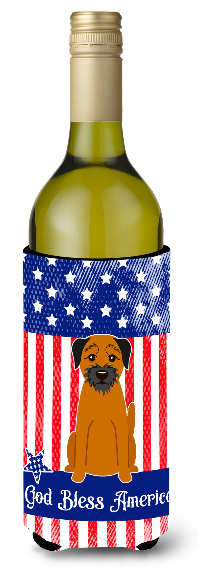 Buy this Patriotic USA Border Terrier Wine Bottle Beverge Insulator Hugger