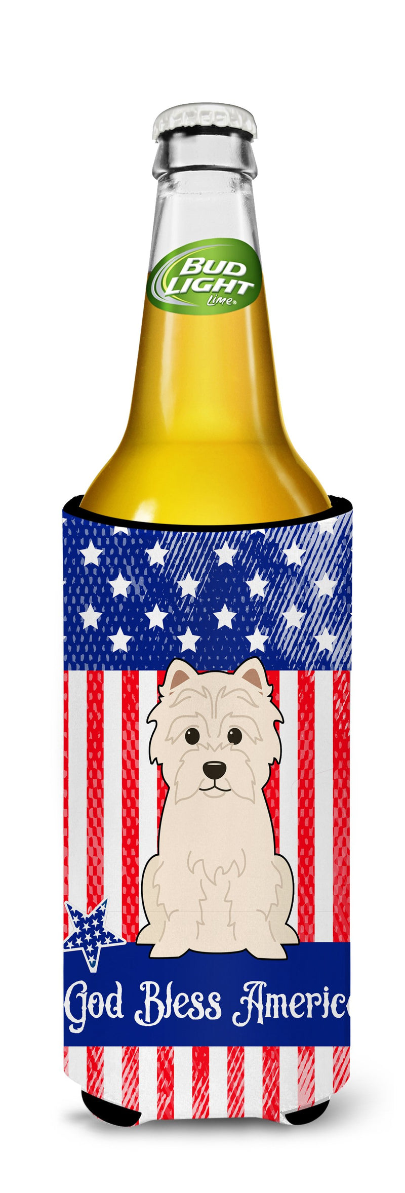 Buy this Patriotic USA Westie Michelob Ultra Hugger for slim cans BB3037MUK
