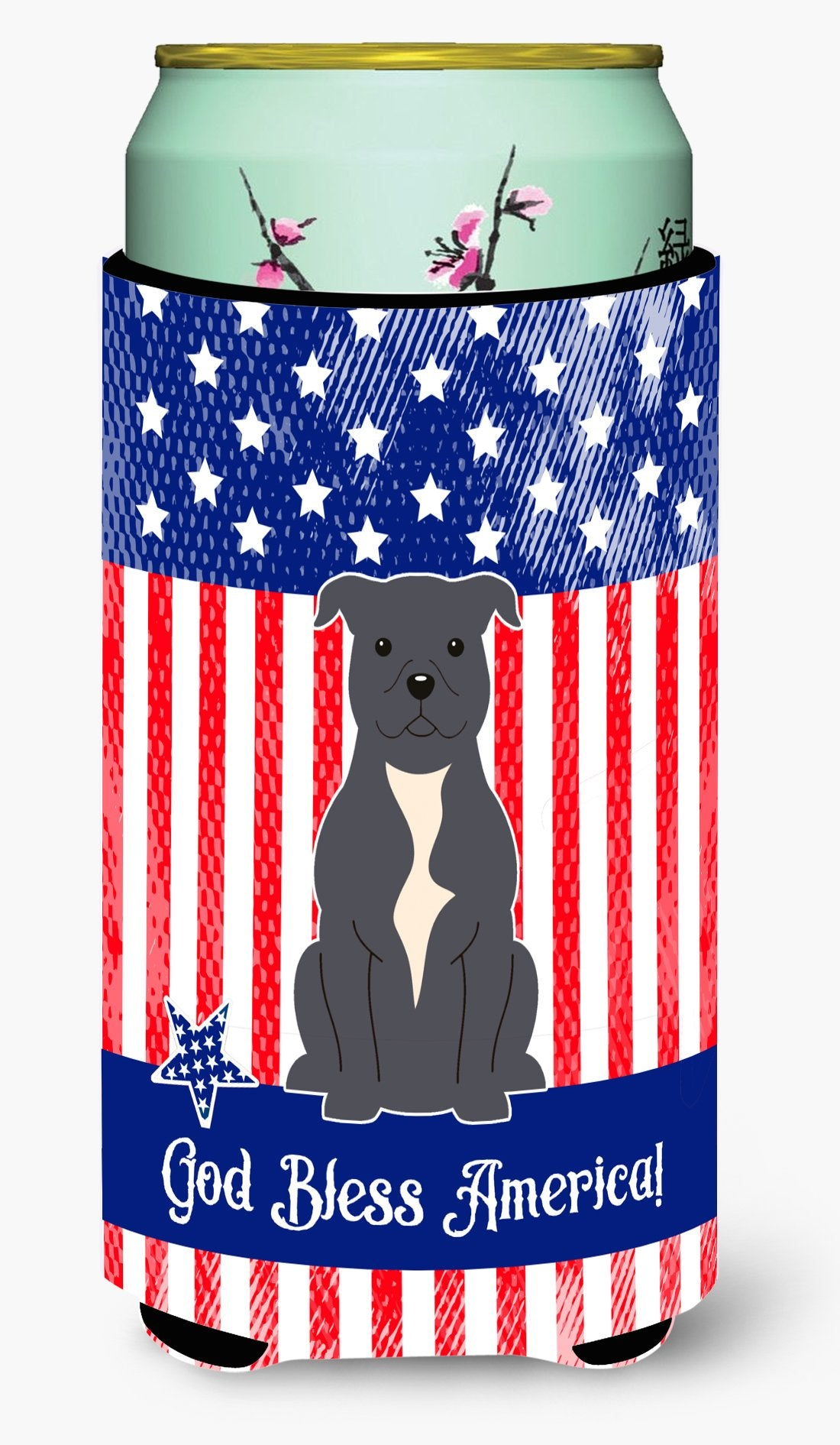 Patriotic USA Staffordshire Bull Terrier Blue Tall Boy Beverage Insulator Hugger by Caroline's Treasures