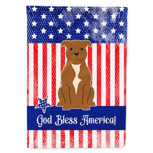 Buy this Patriotic USA Staffordshire Bull Terrier Brown Flag Garden Size BB3042GF