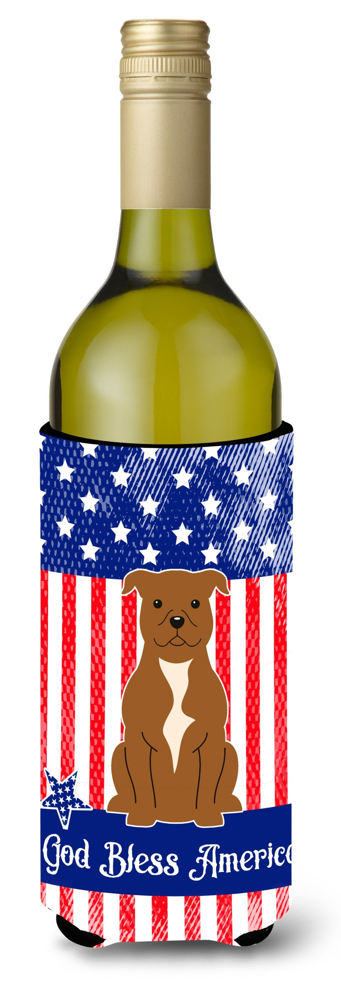 Buy this Patriotic USA Staffordshire Bull Terrier Brown Wine Bottle Beverge Insulator Hugger
