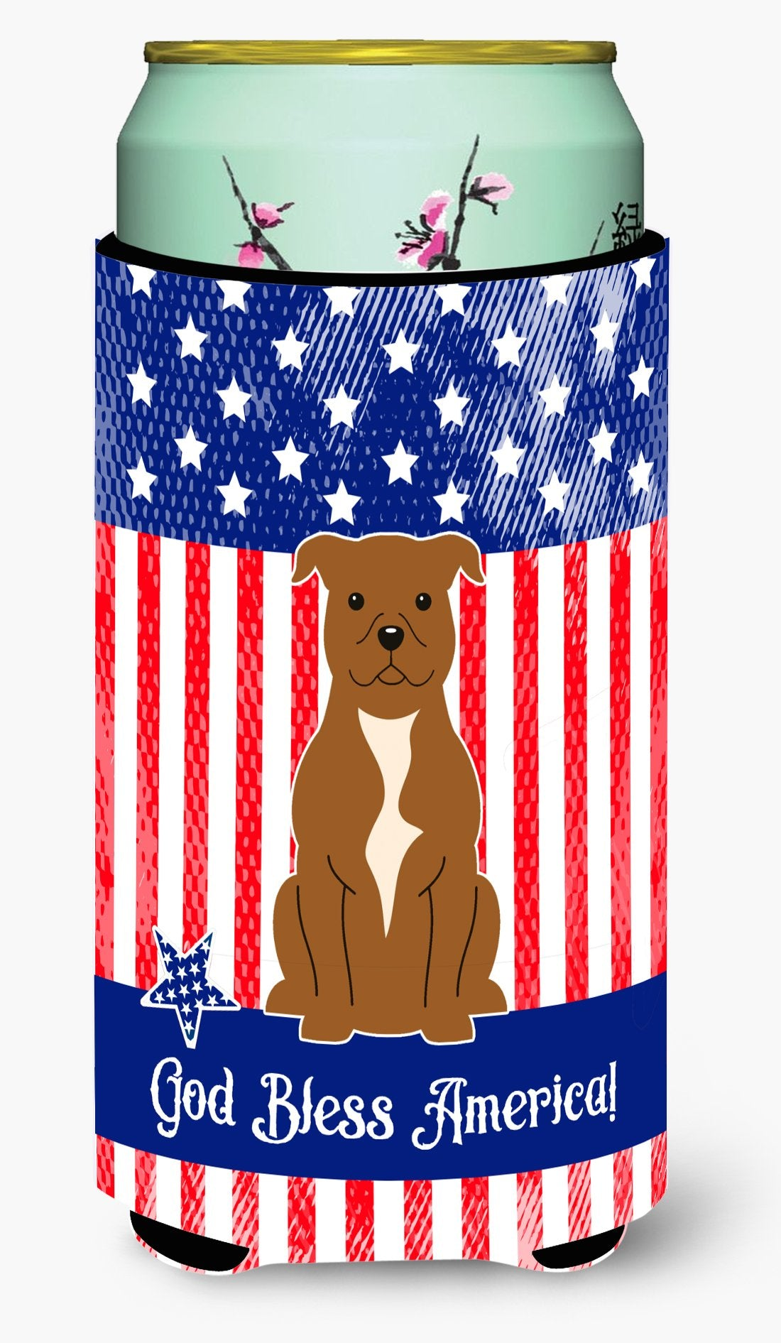Patriotic USA Staffordshire Bull Terrier Brown Tall Boy Beverage Insulator Hugger BB3042TBC by Caroline's Treasures