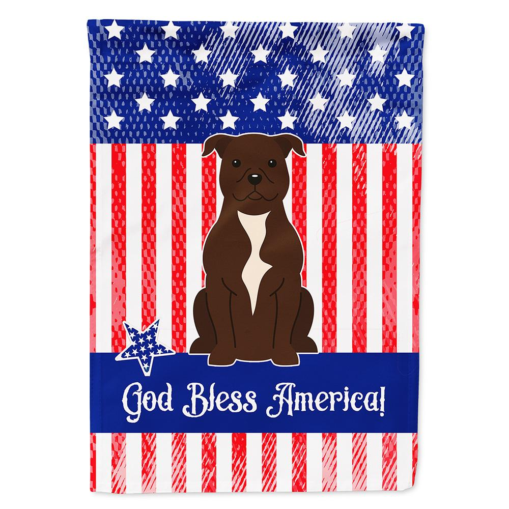 Buy this Patriotic USA Staffordshire Bull Terrier Chocolate Flag Garden Size BB3043GF