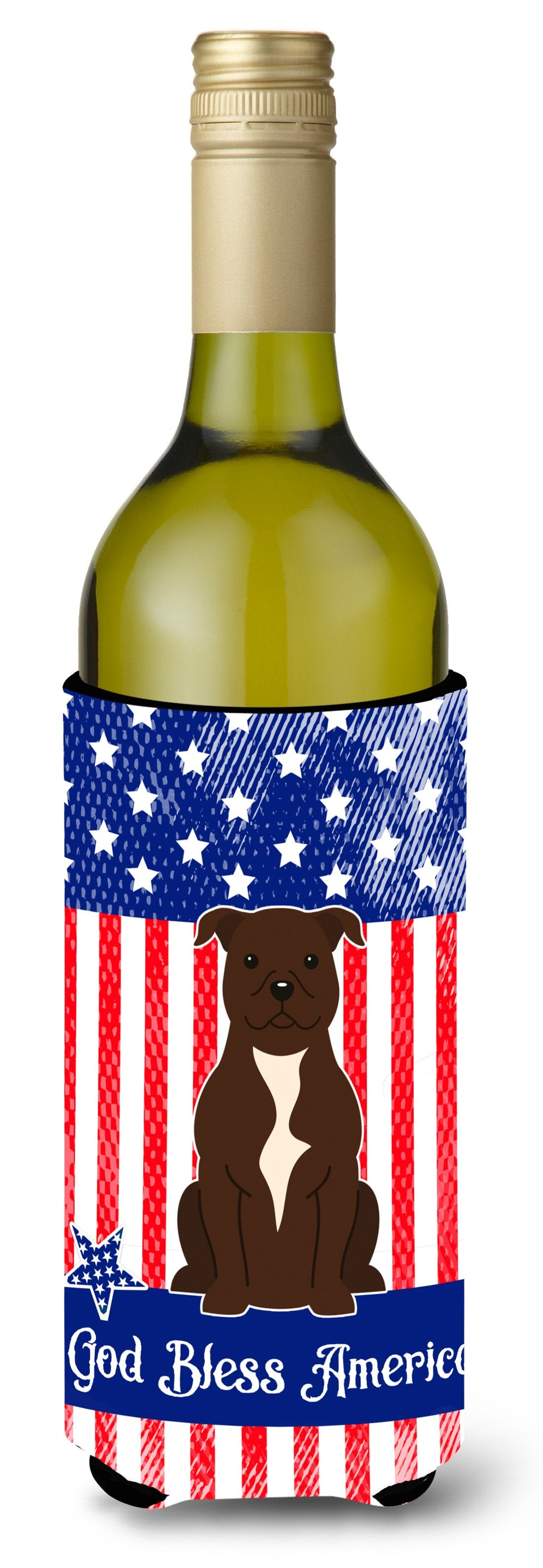 Buy this Patriotic USA Staffordshire Bull Terrier Chocolate Wine Bottle Beverge Insulator Hugger