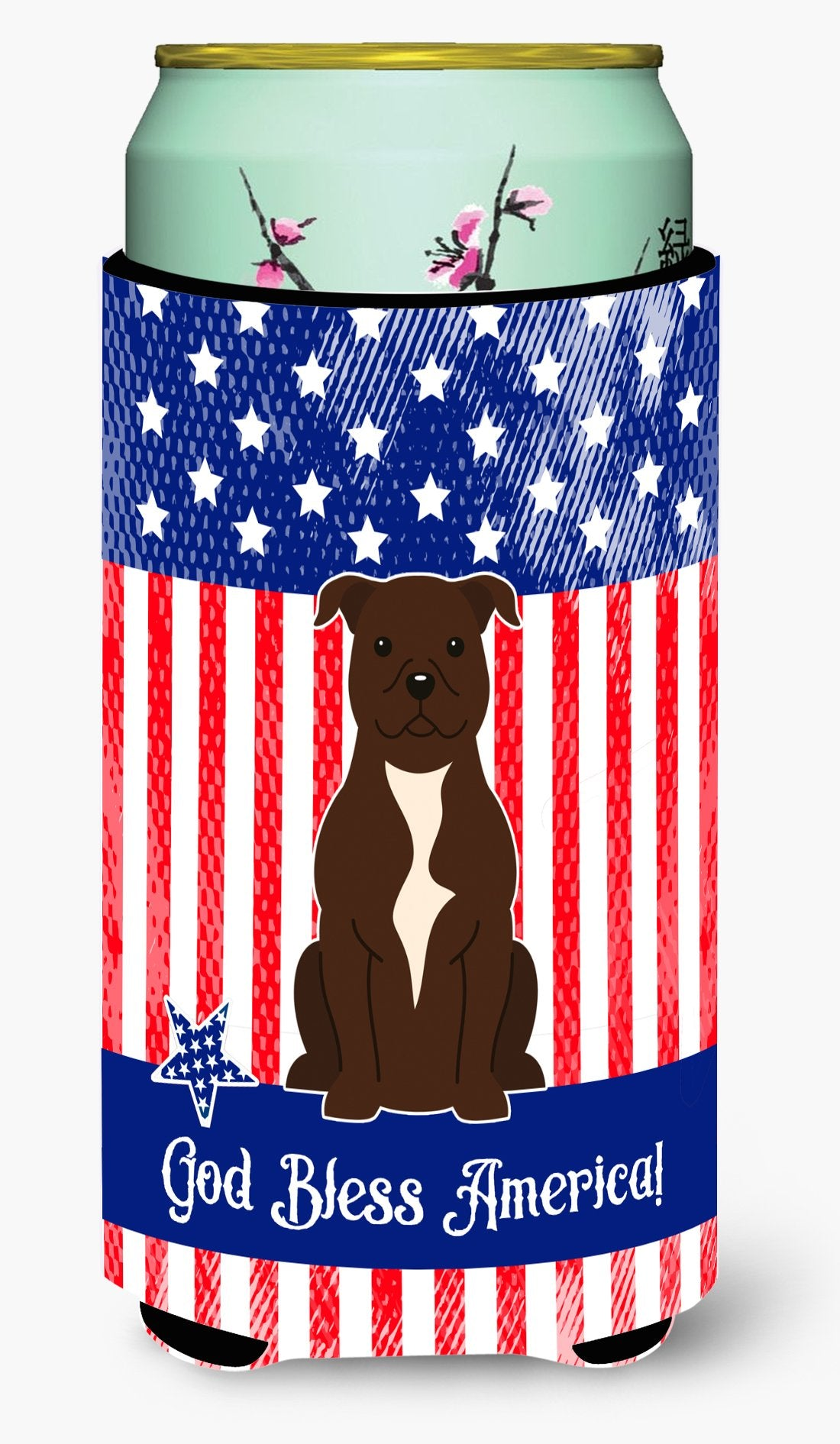 Patriotic USA Staffordshire Bull Terrier Chocolate Tall Boy Beverage Insulator Hugger by Caroline's Treasures
