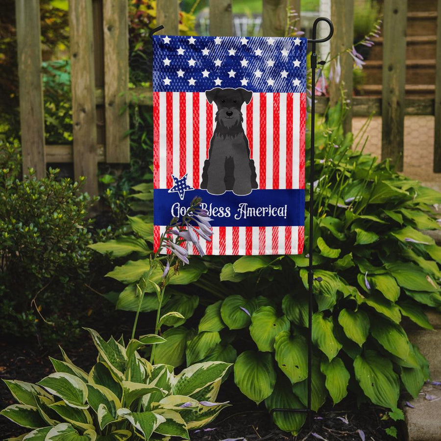 Buy this Patriotic USA Miniature Schanuzer Black Flag Garden Size