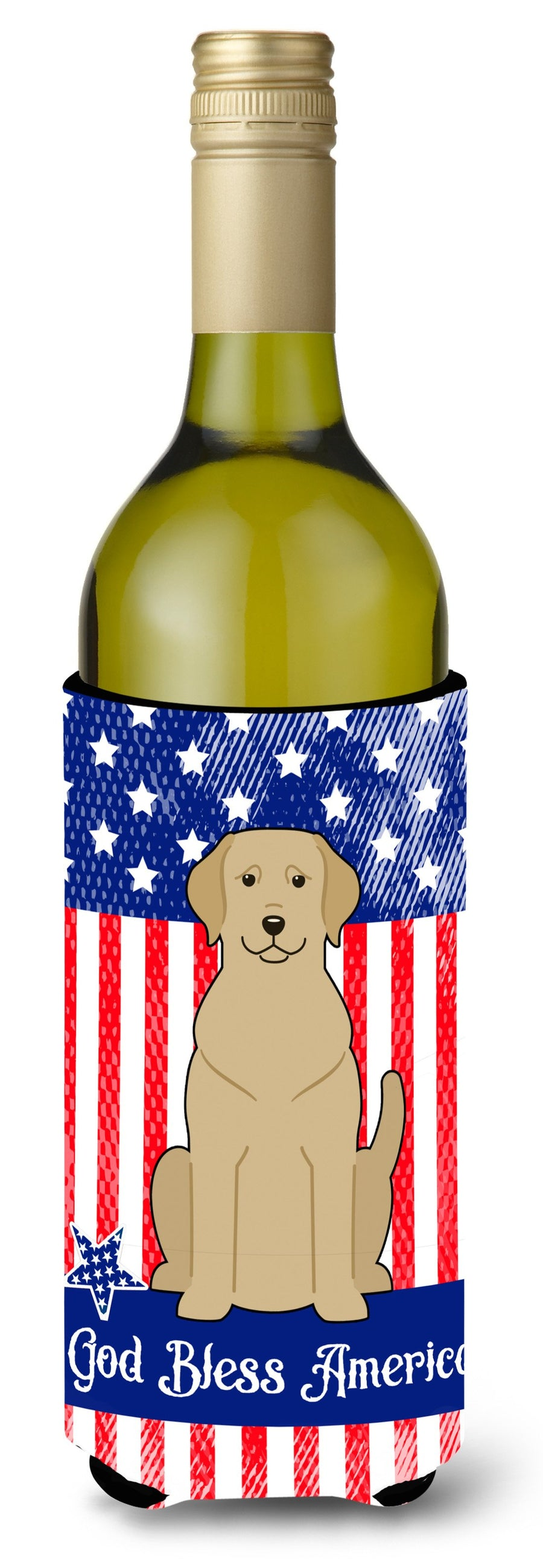 Buy this Patriotic USA Yellow Labrador Wine Bottle Beverge Insulator Hugger
