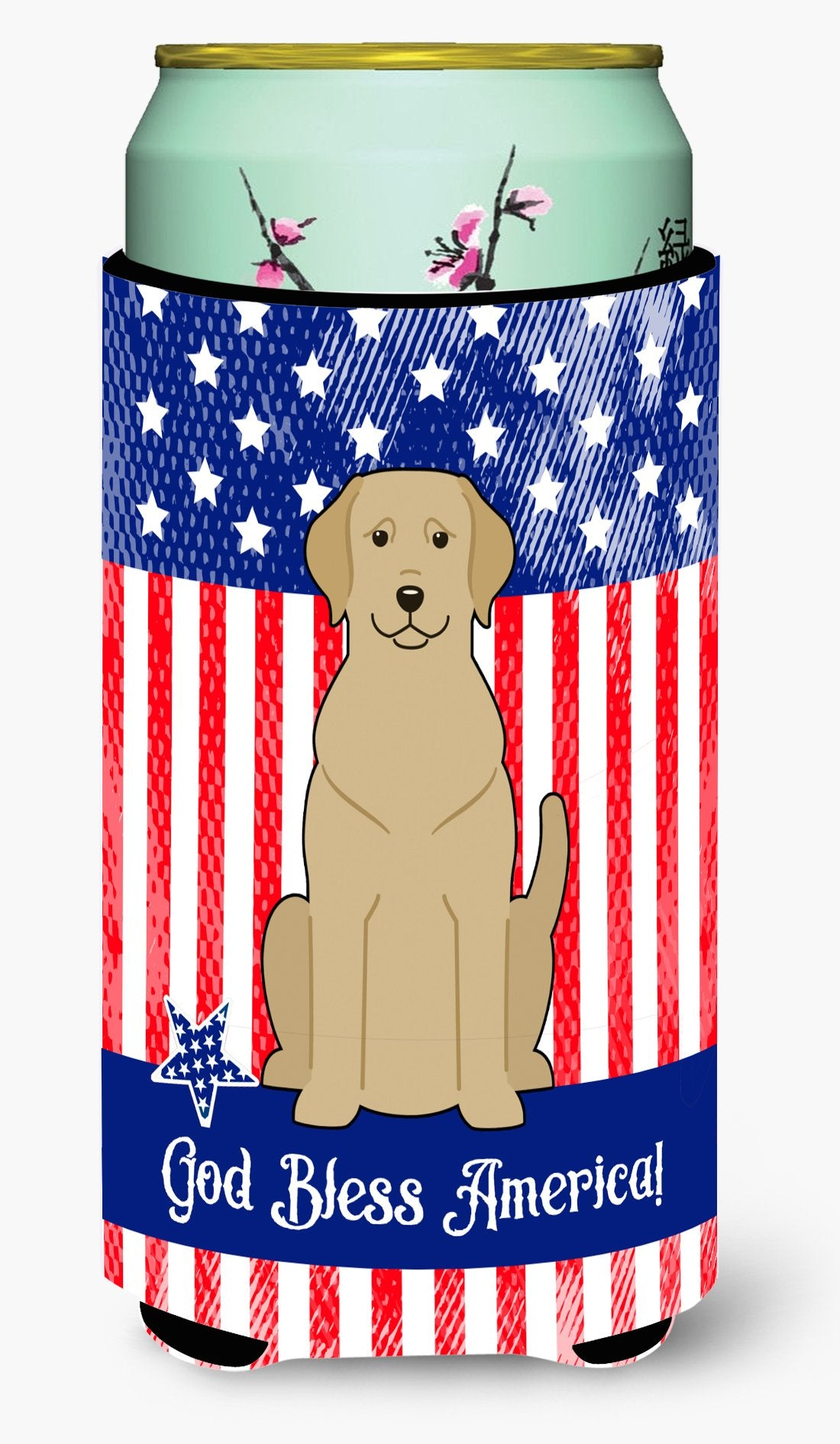 Buy this Patriotic USA Yellow Labrador Tall Boy Beverage Insulator Hugger