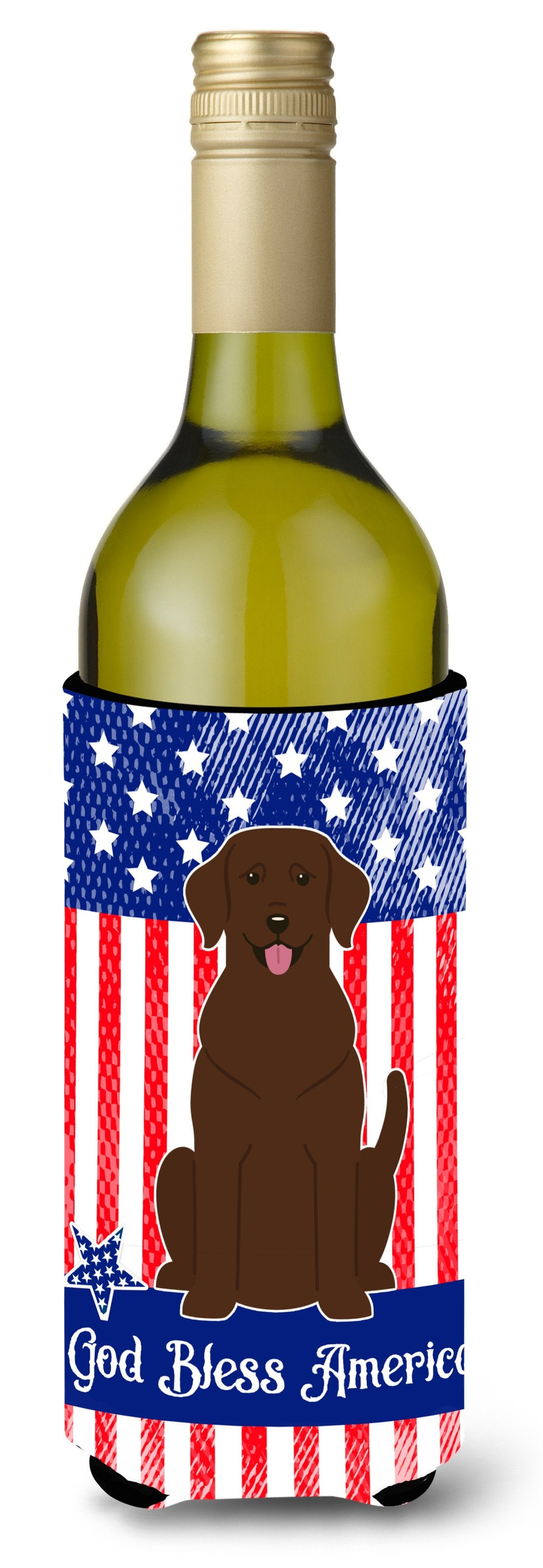 Patriotic USA Chocolate Labrador Wine Bottle Beverge Insulator Hugger BB3051LITERK by Caroline's Treasures