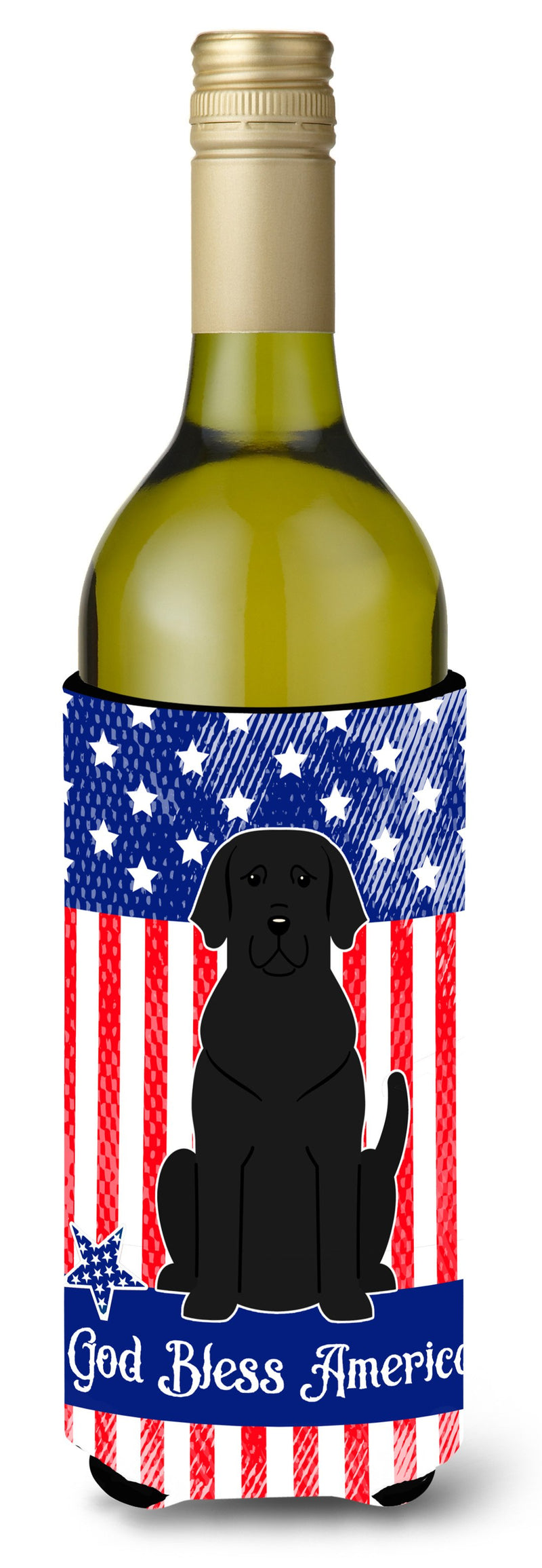 Buy this Patriotic USA Black Labrador Wine Bottle Beverge Insulator Hugger