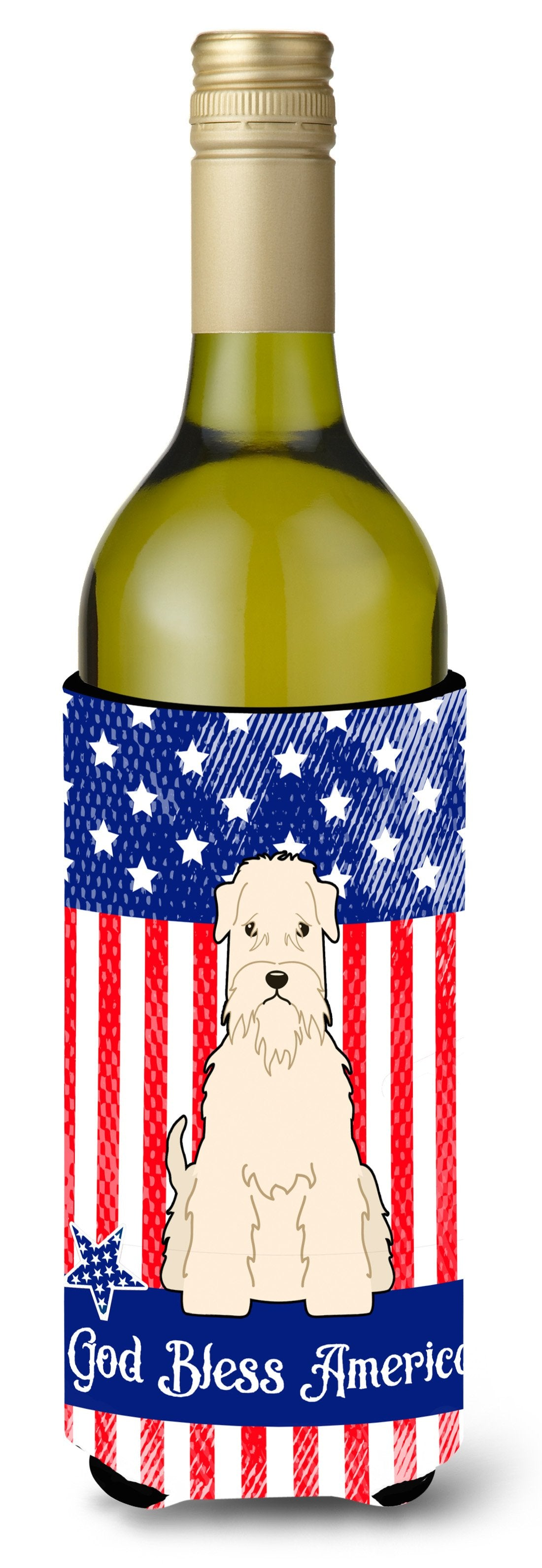 Buy this Patriotic USA Soft Coated Wheaten Terrier Wine Bottle Beverge Insulator Hugger