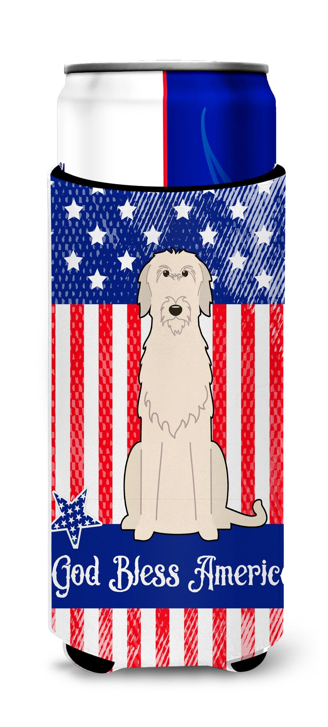 Buy this Patriotic USA Irish Wolfhound Michelob Ultra Hugger for slim cans BB3060MUK