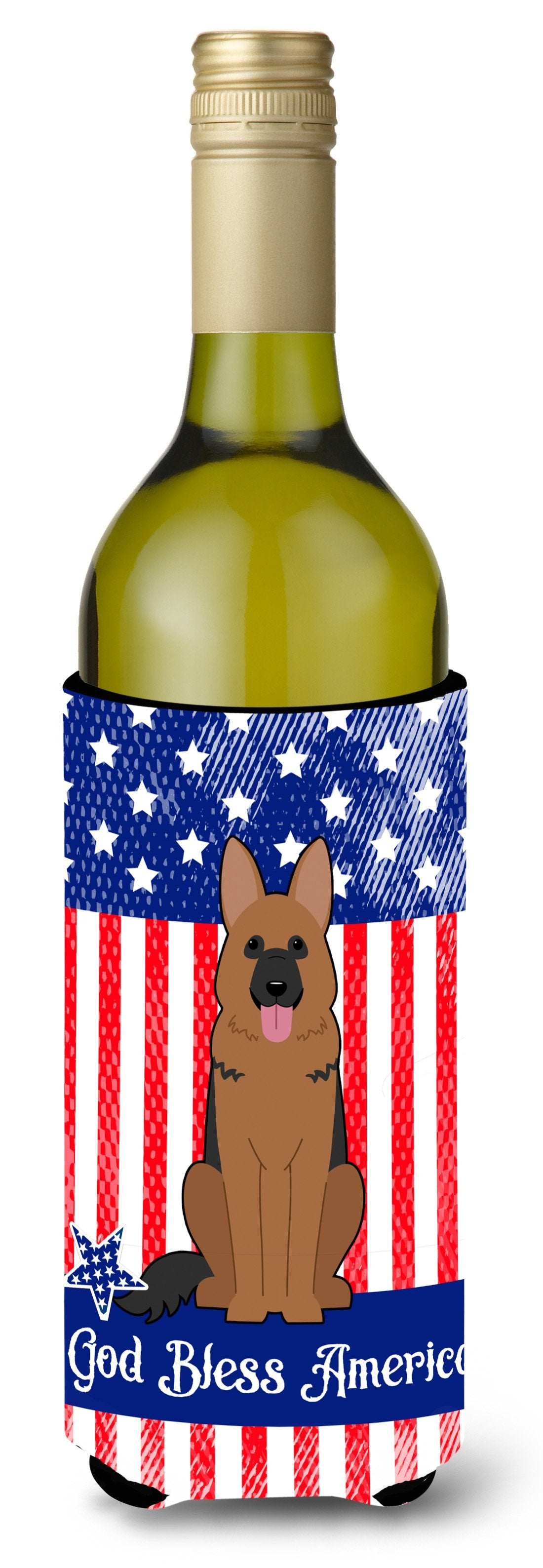 Buy this Patriotic USA German Shepherd Wine Bottle Beverge Insulator Hugger