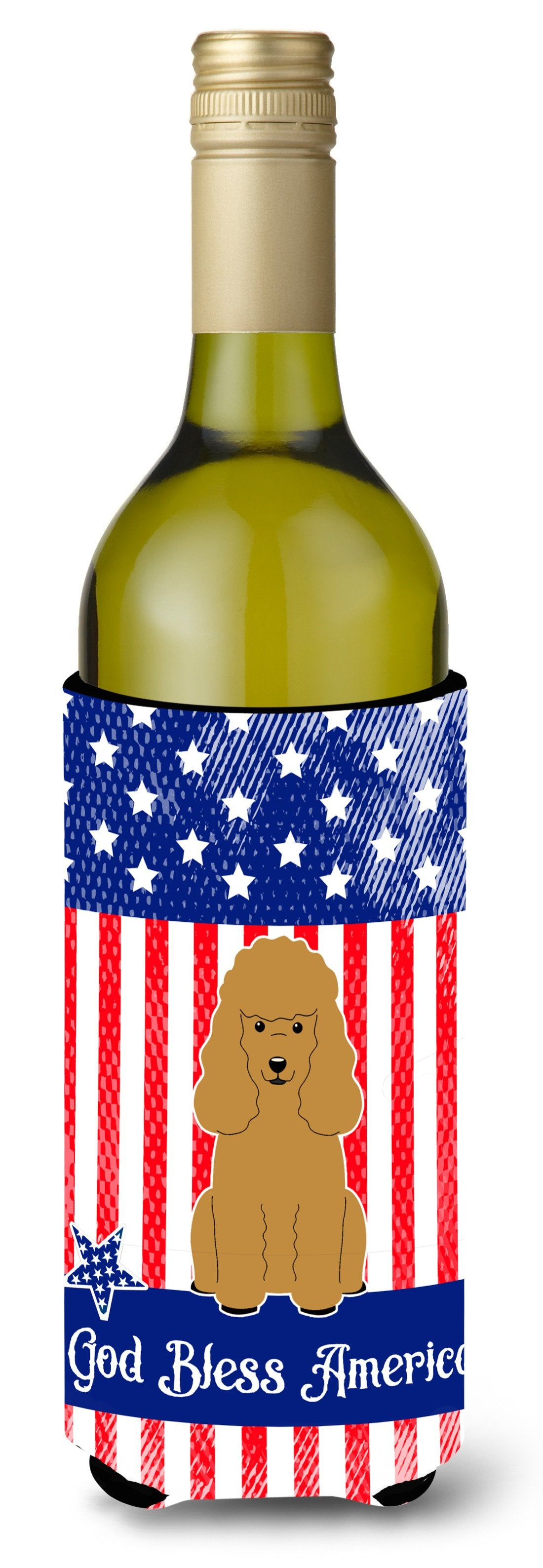 Patriotic USA Poodle Tan Wine Bottle Beverge Insulator Hugger BB3064LITERK by Caroline's Treasures