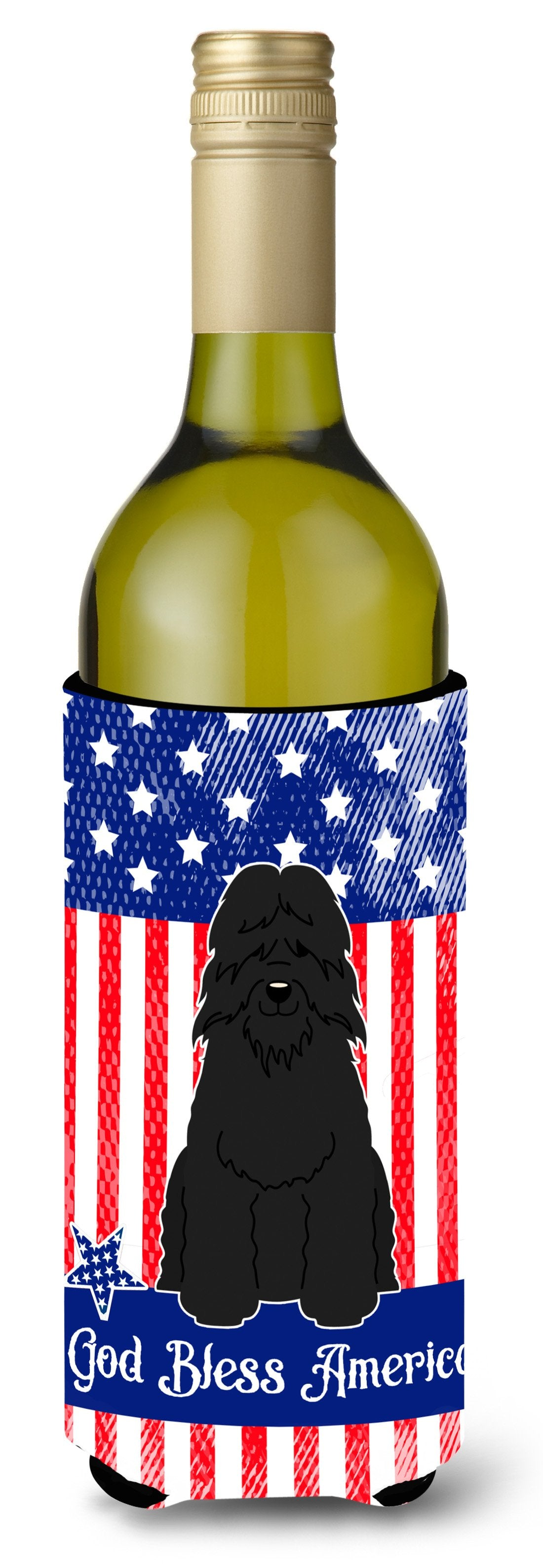 Patriotic USA Bouvier des Flandres Wine Bottle Beverge Insulator Hugger BB3069LITERK by Caroline's Treasures