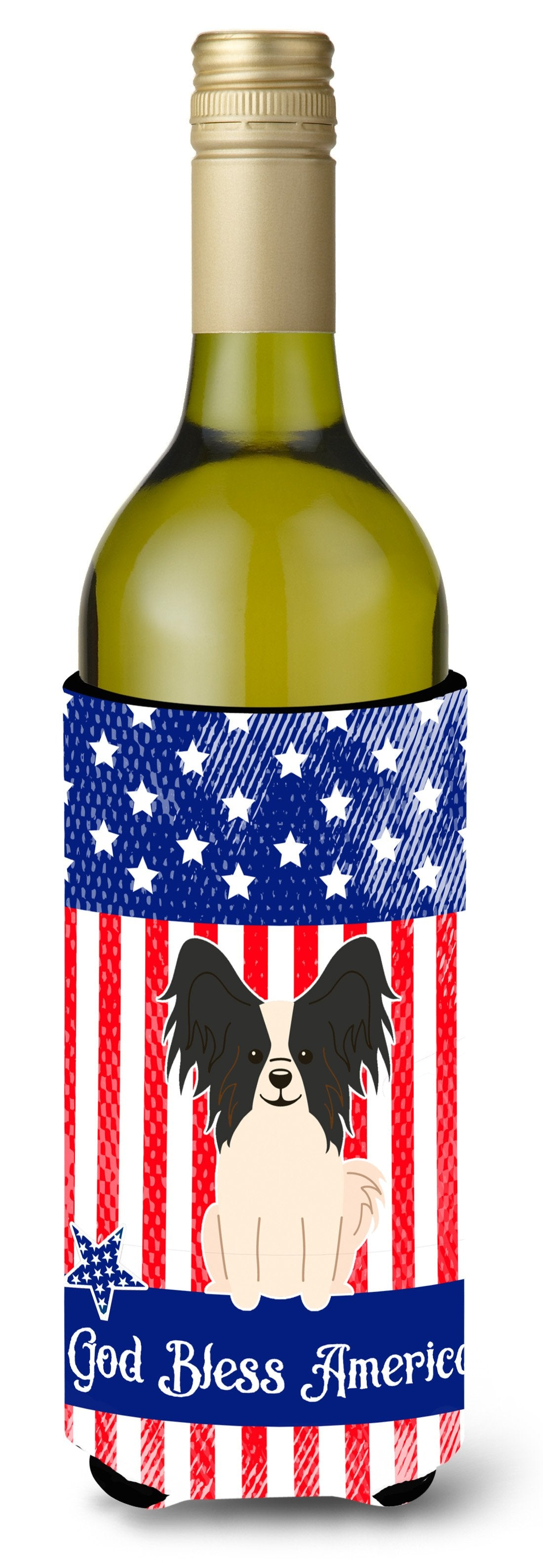 Buy this Patriotic USA Papillon Black White Wine Bottle Beverge Insulator Hugger