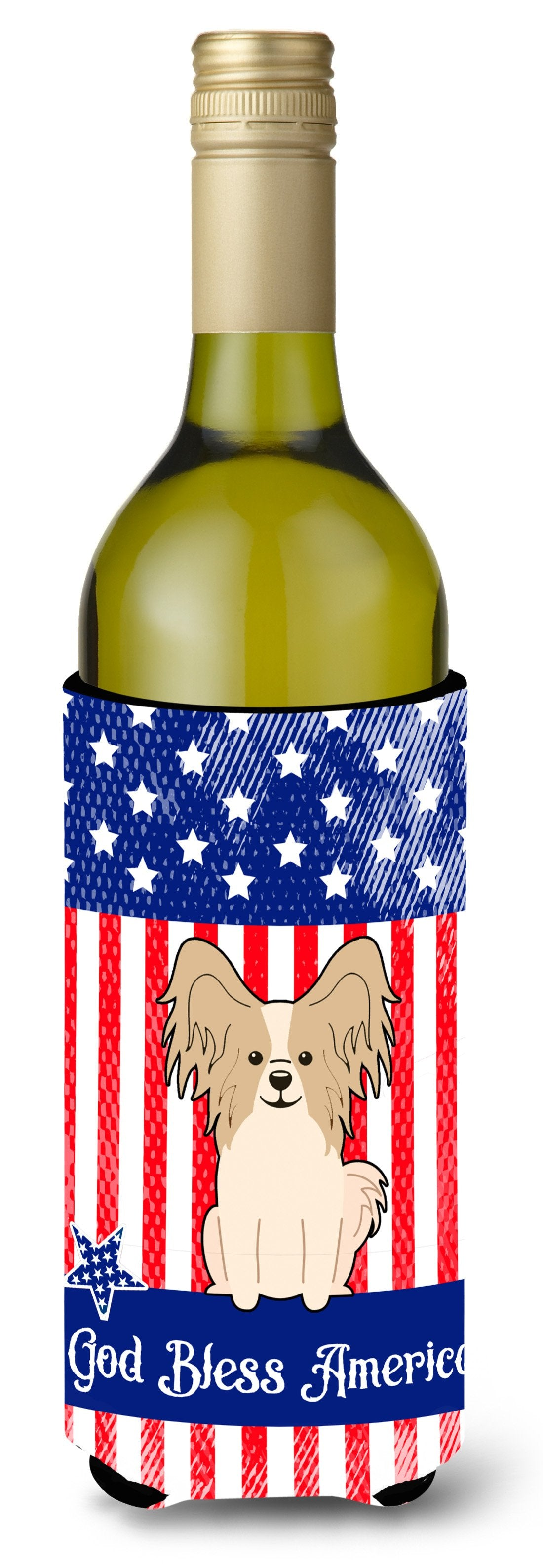 Buy this Patriotic USA Papillon Sable White Wine Bottle Beverge Insulator Hugger