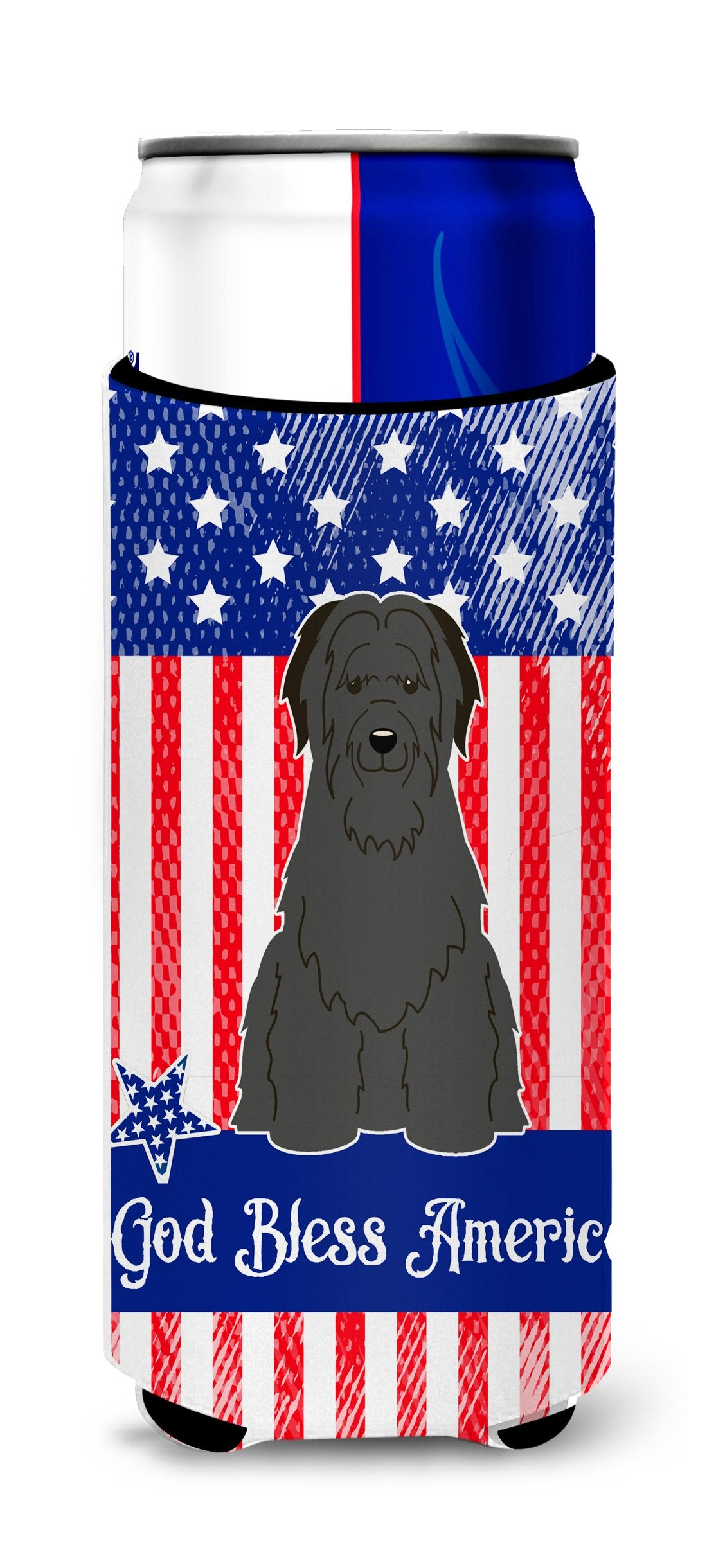 Buy this Patriotic USA Briard Black Michelob Ultra Hugger for slim cans BB3076MUK