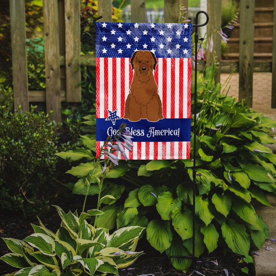 Buy this Patriotic USA Briard Brown Flag Garden Size BB3077GF