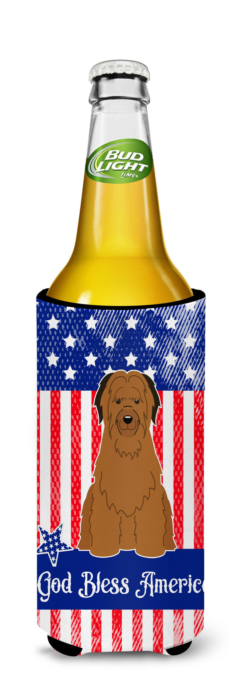 Buy this Patriotic USA Briard Brown Michelob Ultra Hugger for slim cans BB3077MUK