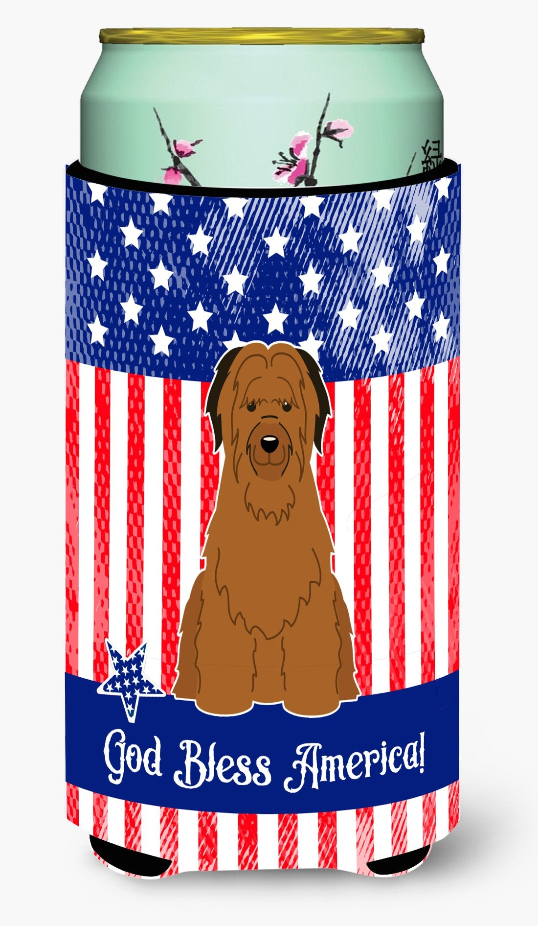Buy this Patriotic USA Briard Brown Tall Boy Beverage Insulator Hugger