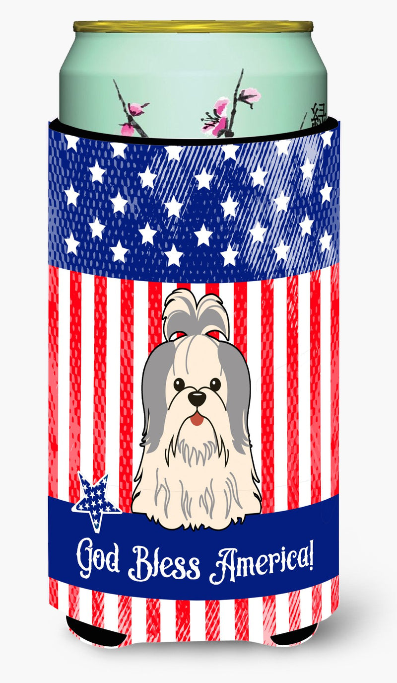 Buy this Patriotic USA Shih Tzu Silver White Tall Boy Beverage Insulator Hugger