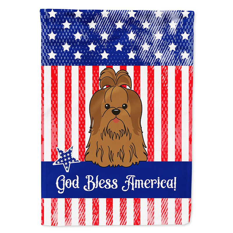 Buy this Patriotic USA Shih Tzu Silver Chocolate Flag Garden Size