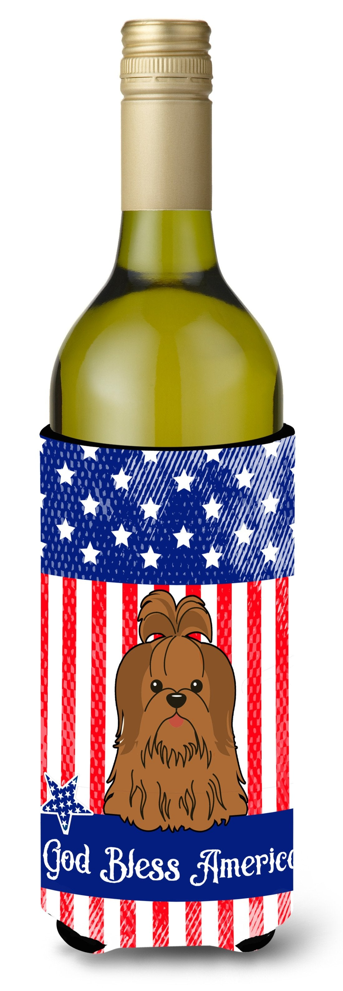 Buy this Patriotic USA Shih Tzu Silver Chocolate Wine Bottle Beverge Insulator Hugger