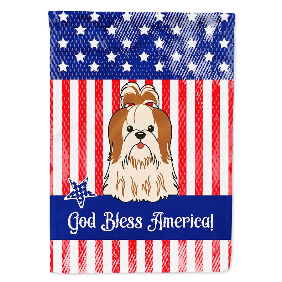 Buy this Patriotic USA Shih Tzu Red White Flag Garden Size