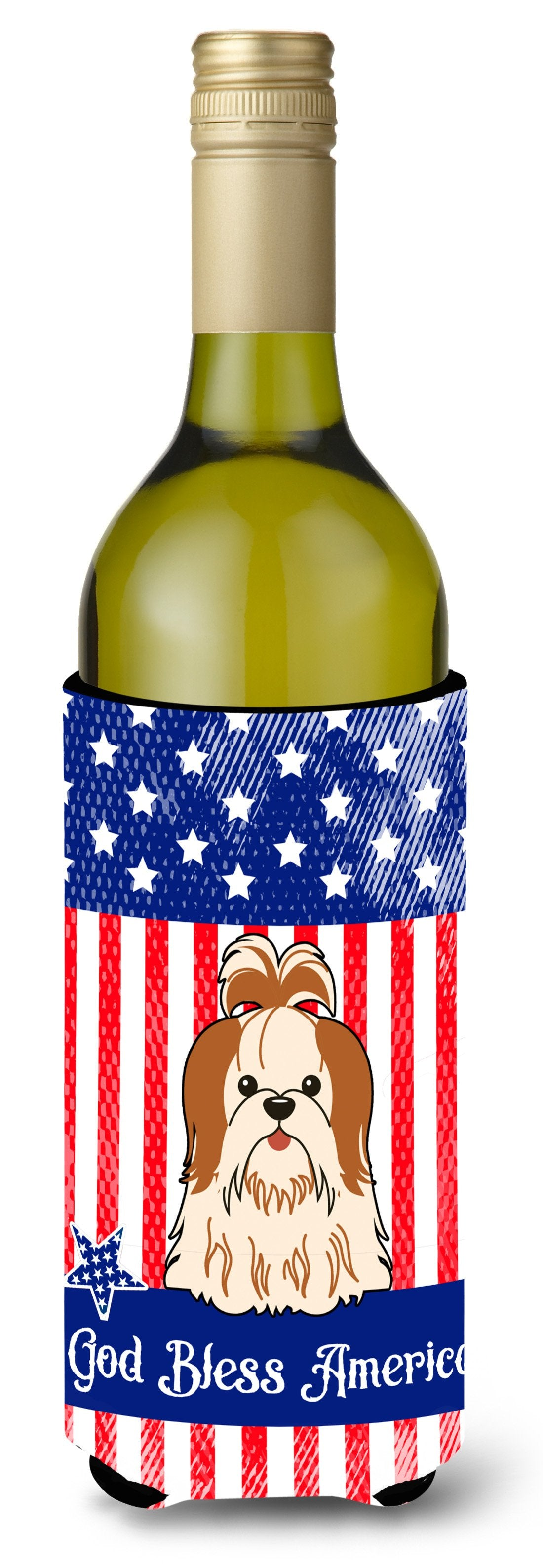 Buy this Patriotic USA Shih Tzu Red White Wine Bottle Beverge Insulator Hugger