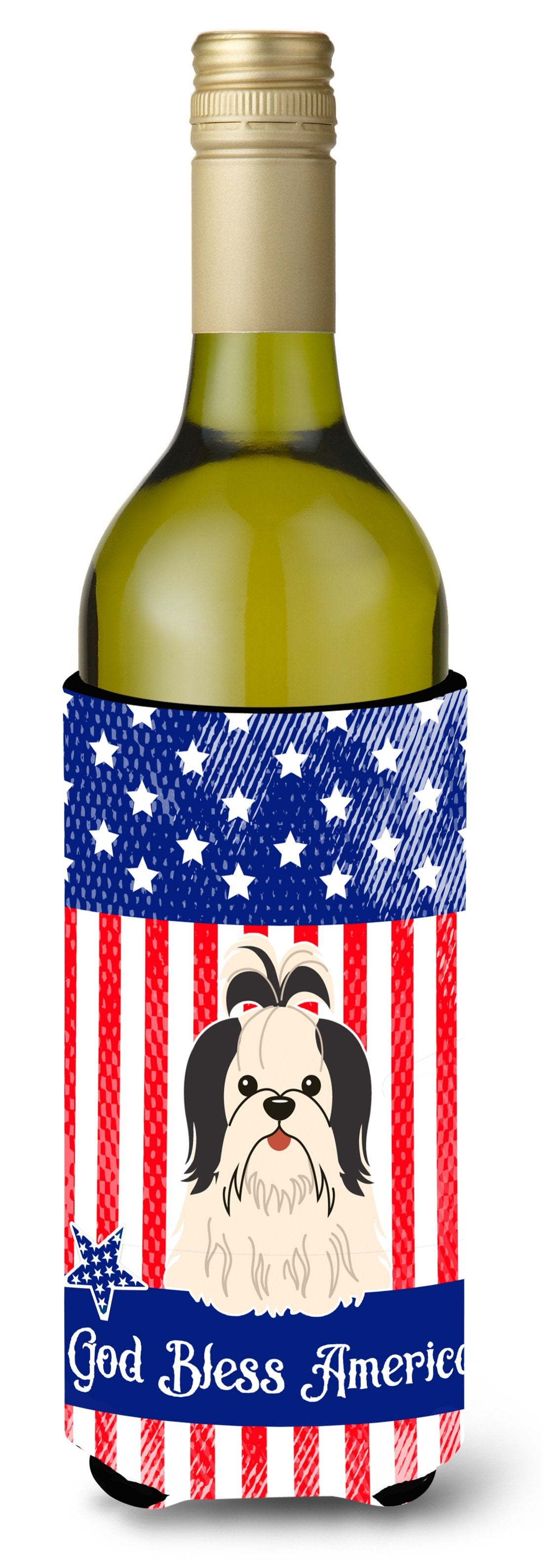 Buy this Patriotic USA Shih Tzu Black White Wine Bottle Beverge Insulator Hugger