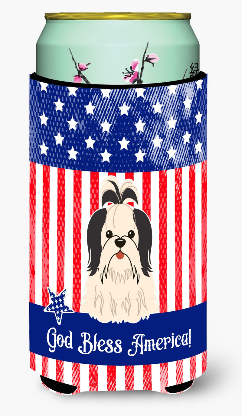 Buy this Patriotic USA Shih Tzu Black White Tall Boy Beverage Insulator Hugger