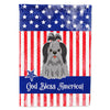 Patriotic USA Shih Tzu Black Silver Flag Garden Size by Caroline's Treasures