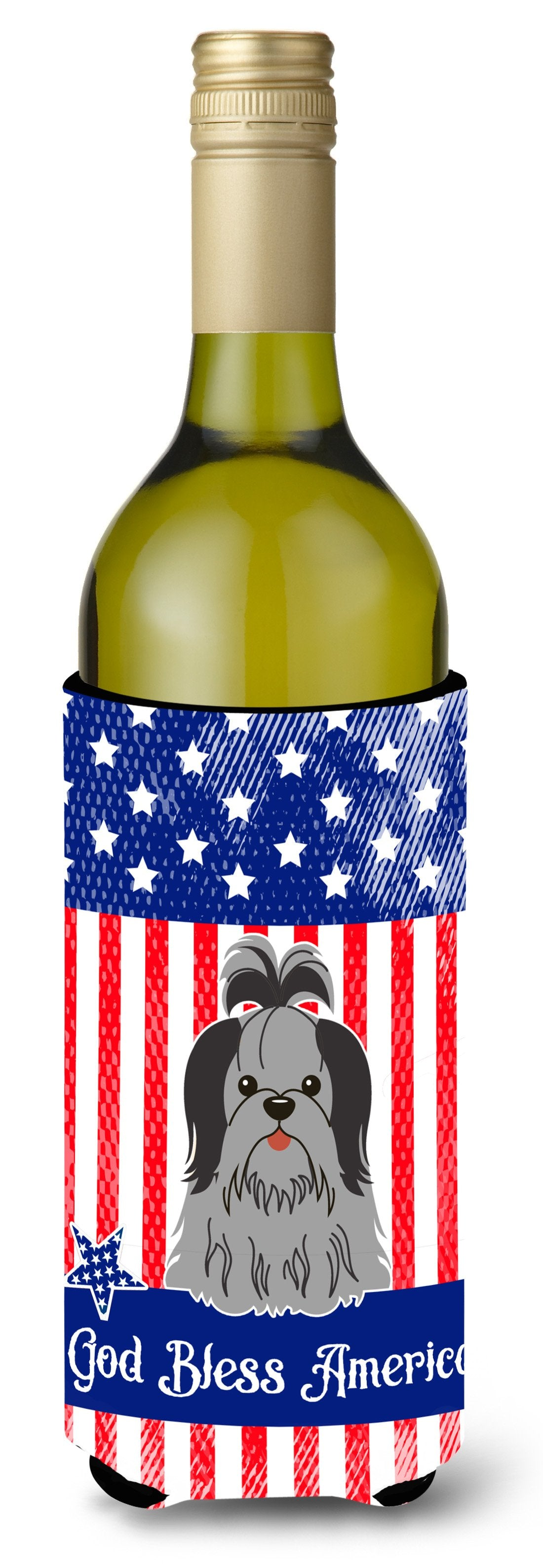 Buy this Patriotic USA Shih Tzu Black Silver Wine Bottle Beverge Insulator Hugger BB3084LITERK