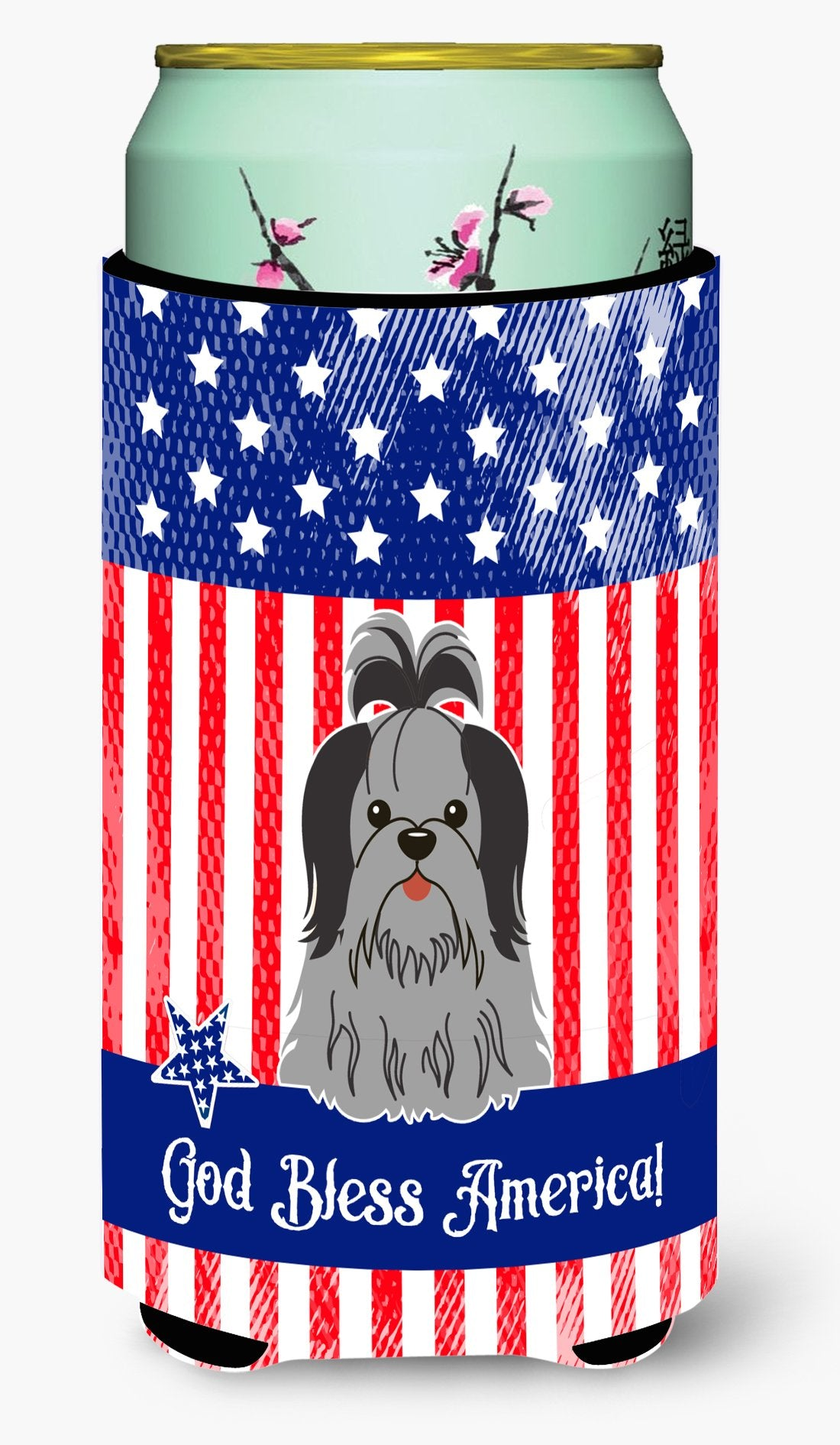 Buy this Patriotic USA Shih Tzu Black Silver Tall Boy Beverage Insulator Hugger