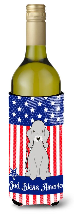 Buy this Patriotic USA Bedlington Terrier Blue Wine Bottle Beverge Insulator Hugger