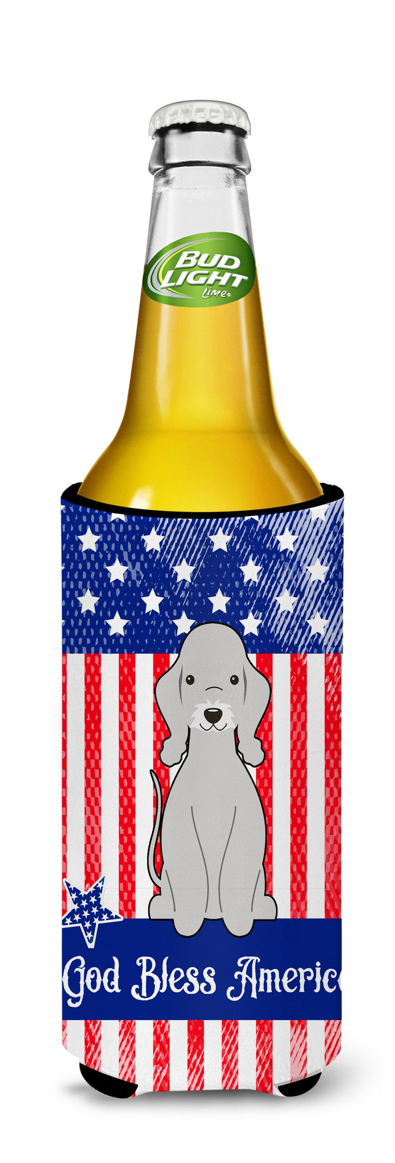 Buy this Patriotic USA Bedlington Terrier Blue Michelob Ultra Hugger for slim cans BB3085MUK