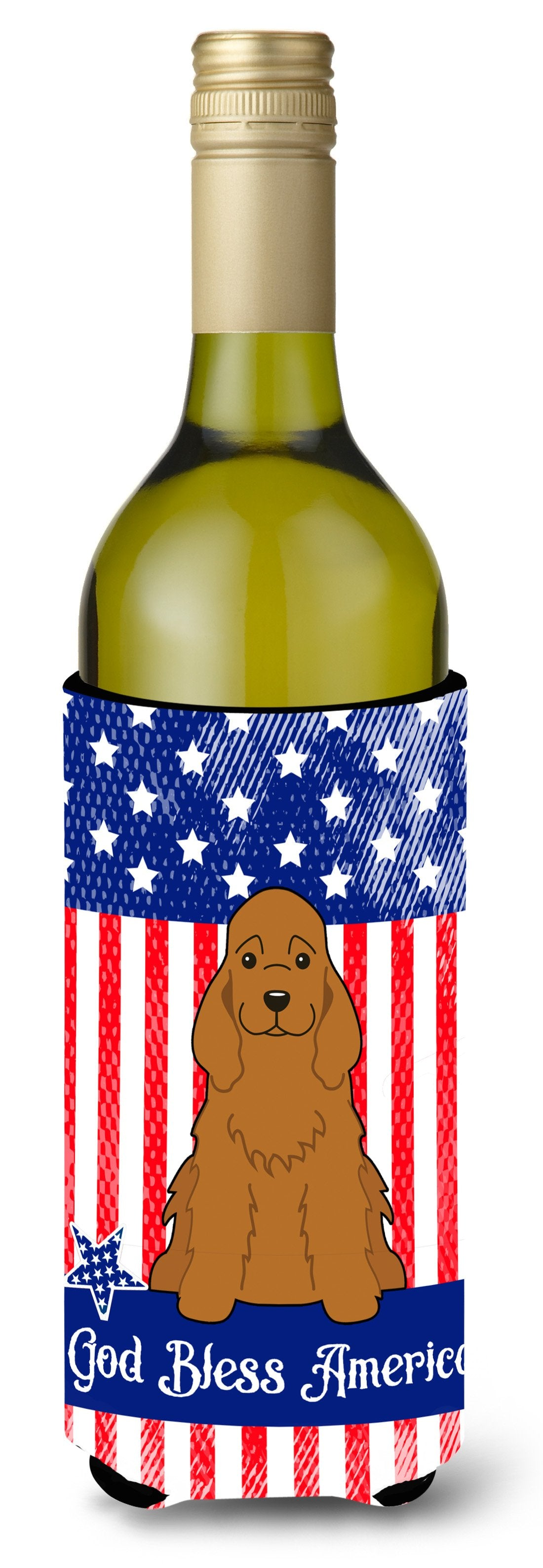 Buy this Patriotic USA Cocker Spaniel Red Wine Bottle Beverge Insulator Hugger