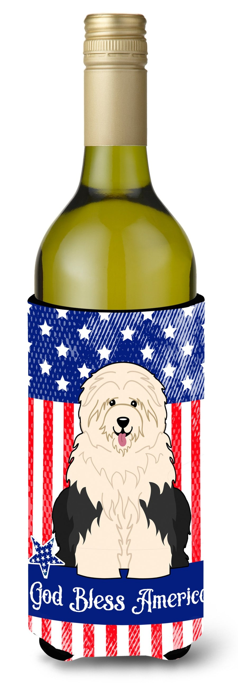 Buy this Patriotic USA Old English Sheepdog Wine Bottle Beverge Insulator Hugger