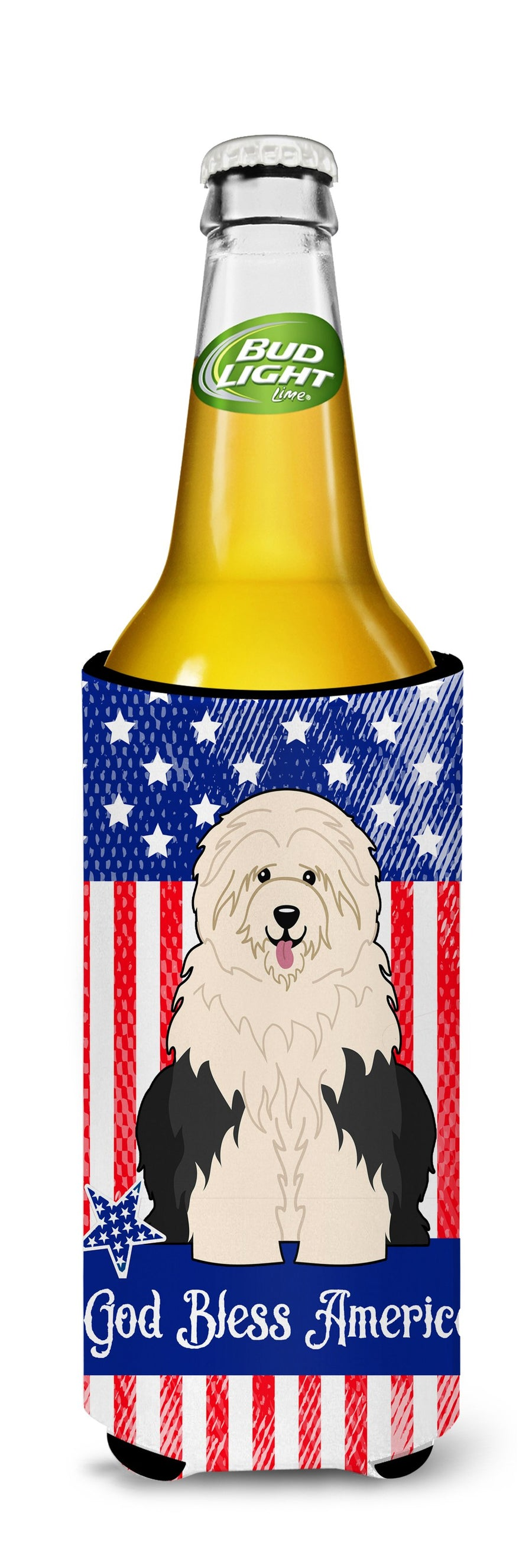 Buy this Patriotic USA Old English Sheepdog Michelob Ultra Hugger for slim cans BB3091MUK