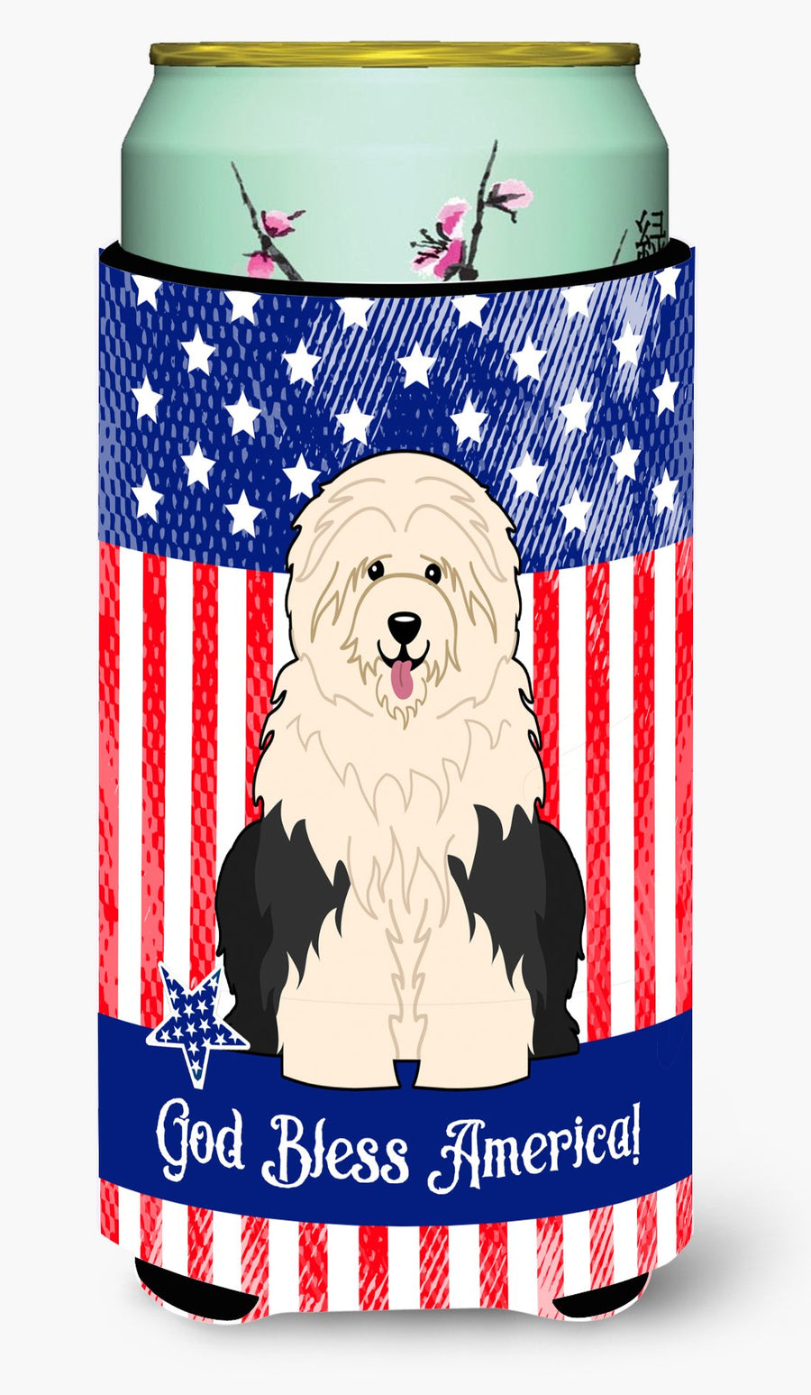 Buy this Patriotic USA Old English Sheepdog Tall Boy Beverage Insulator Hugger