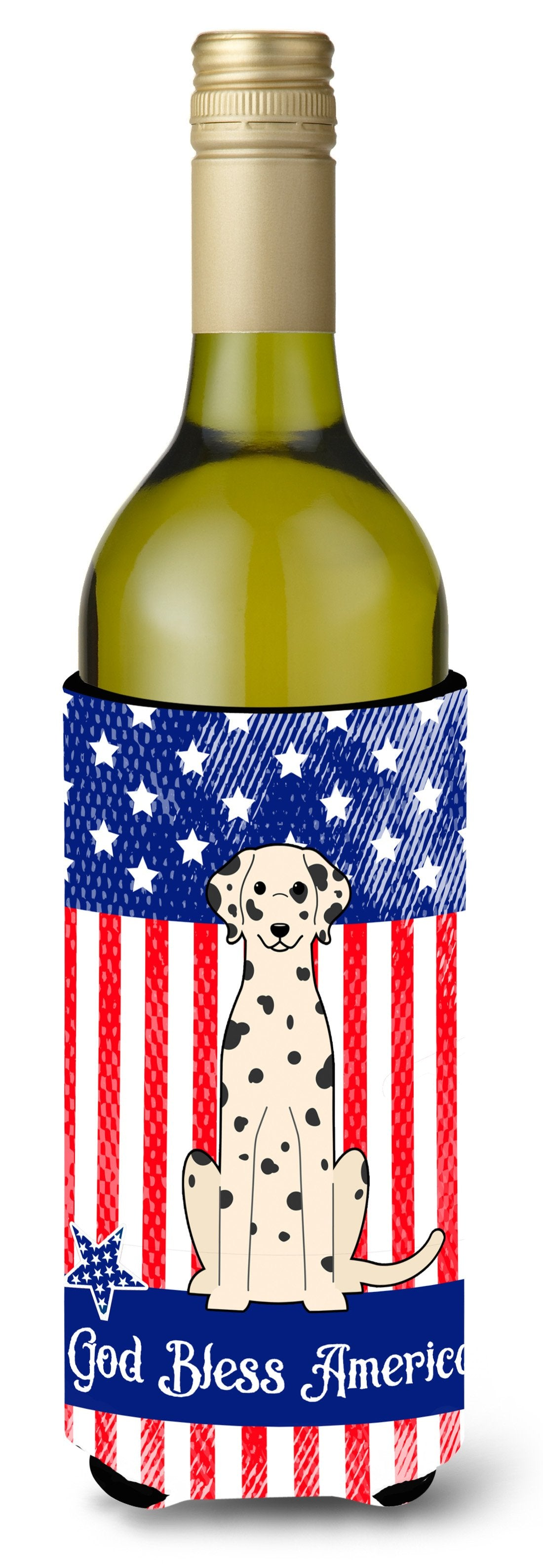 Buy this Patriotic USA Dalmatian Wine Bottle Beverge Insulator Hugger BB3092LITERK