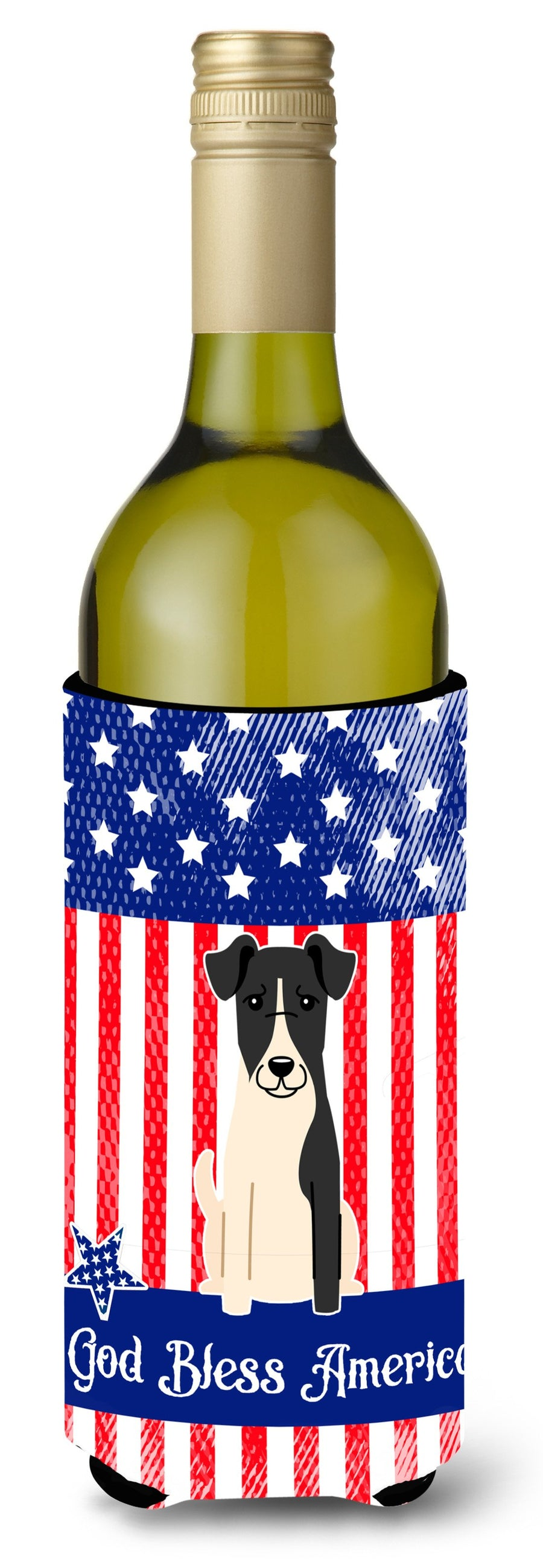 Buy this Patriotic USA Smooth Fox Terrier Wine Bottle Beverge Insulator Hugger BB3093LITERK